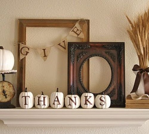 DIY Fall Decorating Give Thanks Mantel