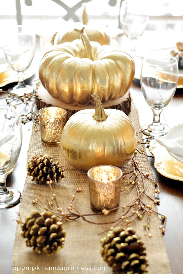 Fall DIY Decorating Gold Table Setting