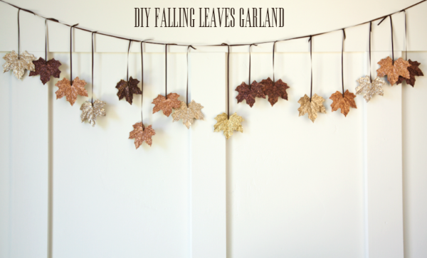 DIY Fall Decorating Glitter Leaf Garland