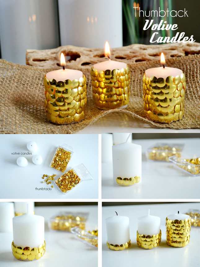 New Years Thumbtack Candle