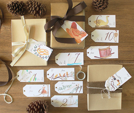 PaperandPigtails Watercolor Gift tags