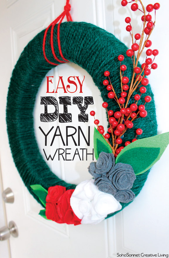 Easy DIY Christmas Yarn Wreath