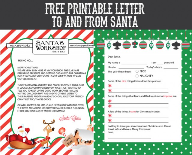 Free Printable Letter To And From Santa