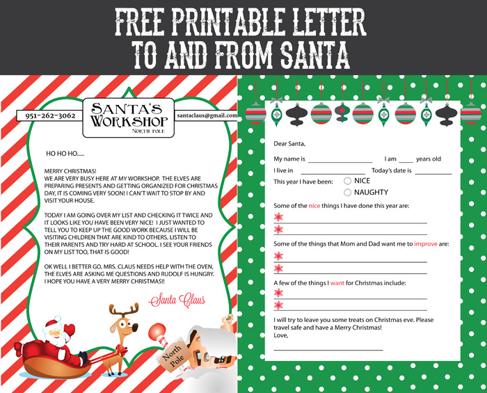 FREE PRINTABLE LETTER TO FROM SANTA
