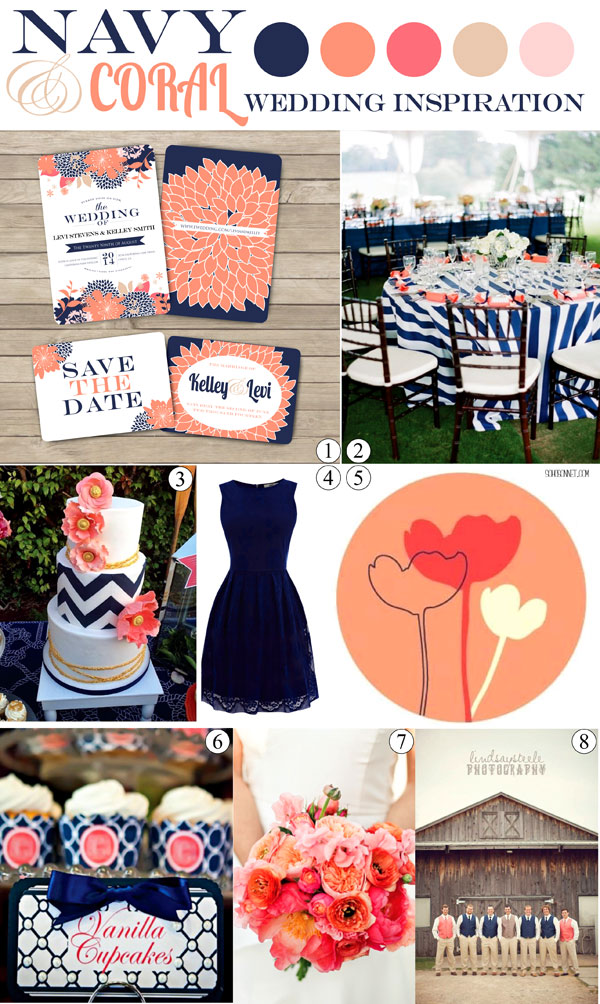 Navy and Coral Wedding Inspiration Mood Board