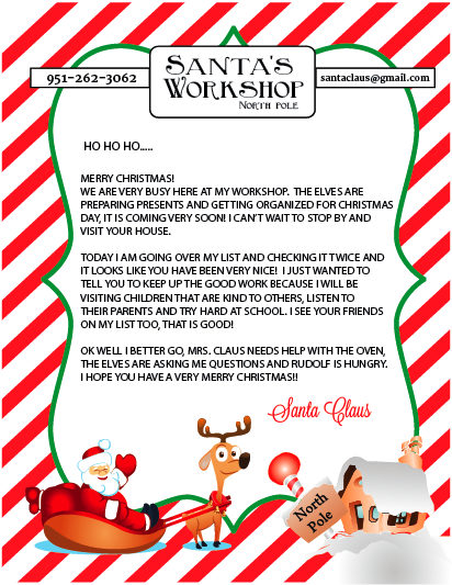 Hear from santa claus receive a letter phone call email and more free printable letter from santa spiritdancerdesigns Images