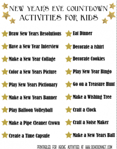 Activities for New Year Countdown