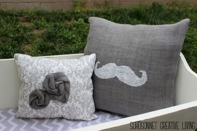 Stencil Burlap Rosette Pillows