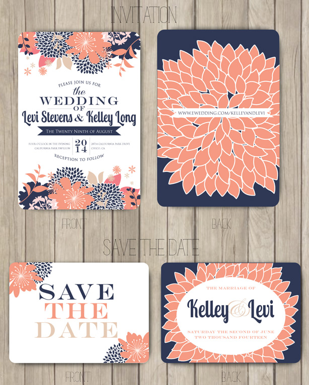 Navy Coral Salmon Wedding Invitation