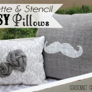 Easy Stencil Burlap & Rosette Pillows