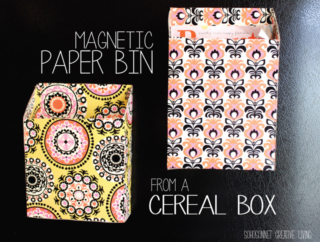 Cereal Box Upcycled into a Magnetic Paper Bin