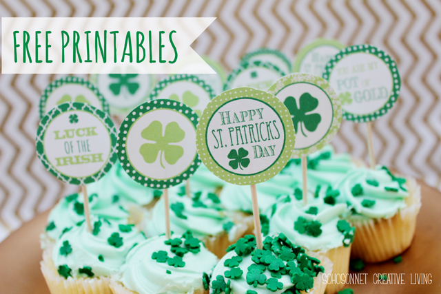 St. Pattys day Free Printables cupcakes