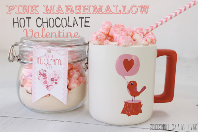 Pink Marshmallow Hot Chocolate Valentines Day Gift + Printable