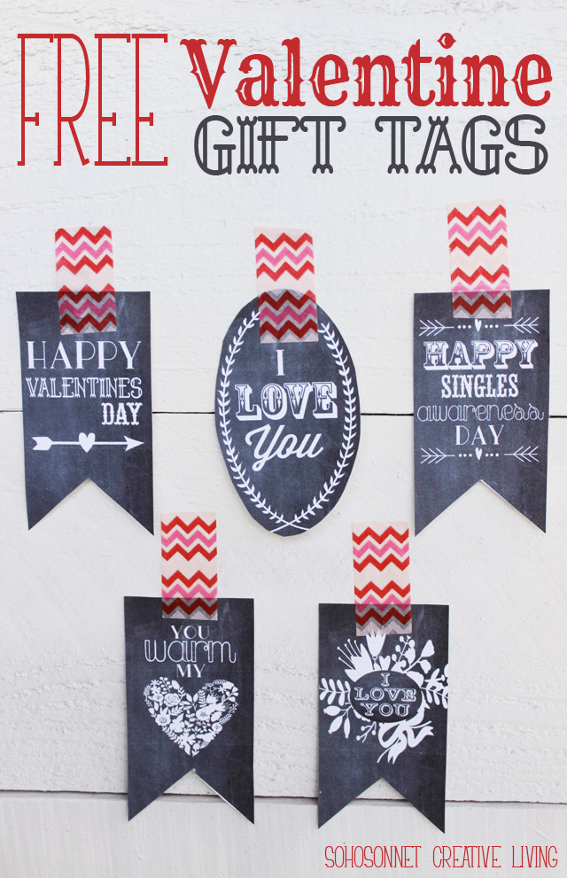Free Printable Valentine Gift Tags in Chalkboard and Color Versions