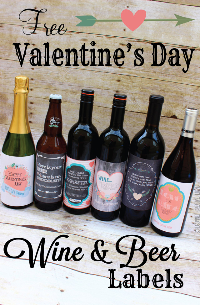 valentines day wine and beer gift labels - sohosonnet creative living, Ideas