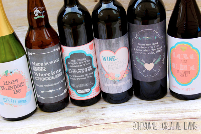 free valentines day wine beer printable labels for gifts sohosonnet creative living