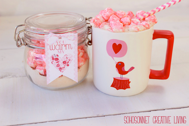 Pink Marshmallow Hot Chocolate Valentine + Printable - SohoSonnet