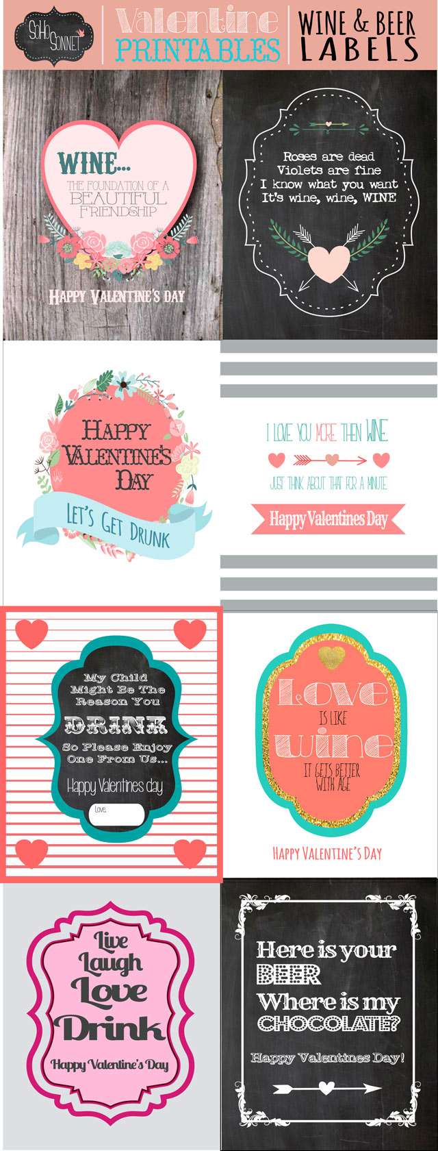 image about Printable Beer Labels named Valentines Working day Wine and Beer Present Labels - SohoSonnet