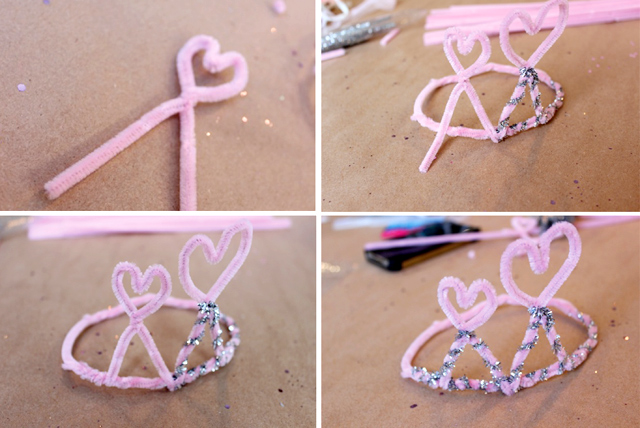 Pipe cleaner crown  Valentine Tutu Heart Toddler outfit tutorial