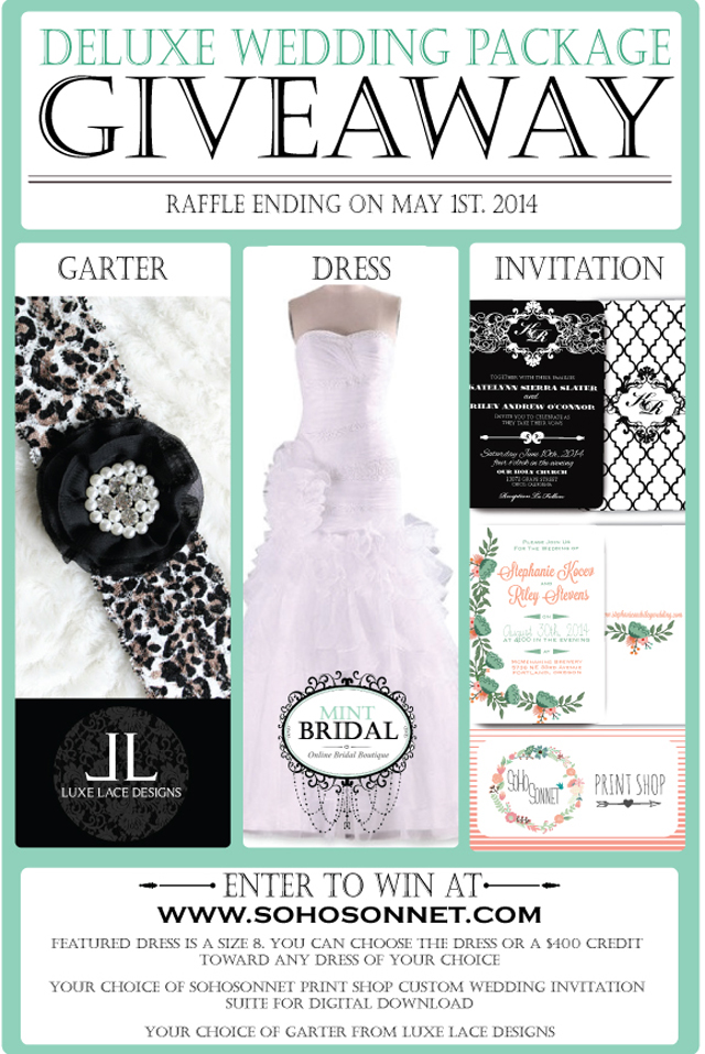 free Wedding Giveaway Package from SohoSonnet and Mint Bridal