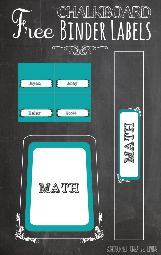 image regarding Free Printable Organizing Labels called Cost-free Printable Chalkboard Labels Binders and Storage