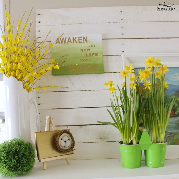 Gold-and-Green-Early-Spring-Mantel-square-at-the-happy-housie