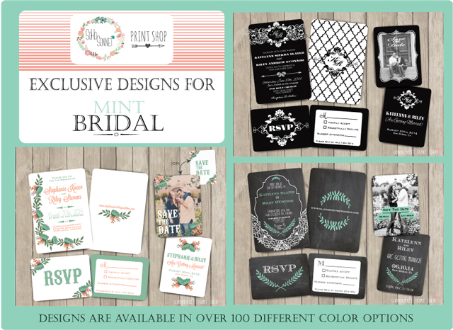 Mint Bridal Wedding invitations exclusively from Sohosonnet