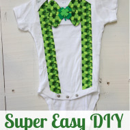 DIY St. Patrick's Day Bow Tie Onesie for Boys – No Sew!