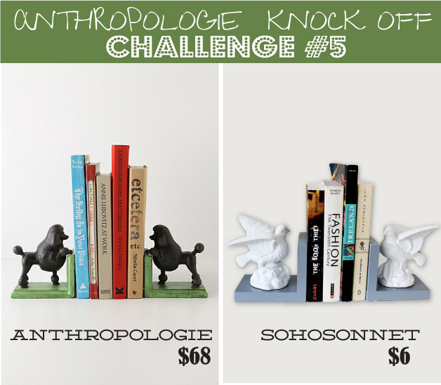 Anthropologie Challenge {Day #5} – Bird DIY Bookends