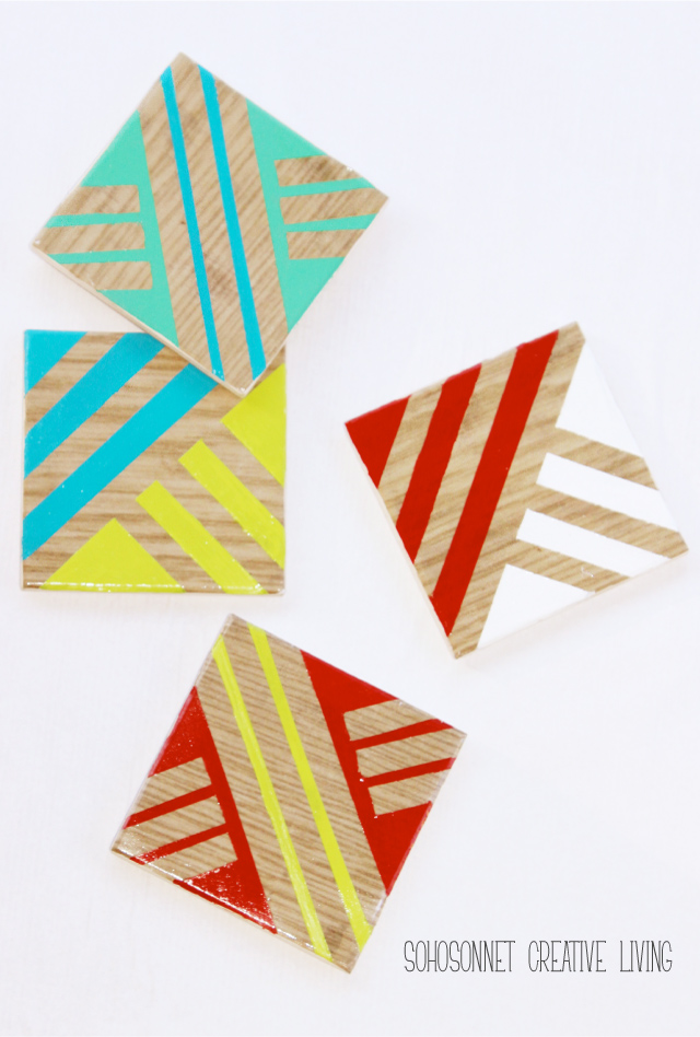 DIY Wood Geometric Coasters Anthropologie Knock Off - SohoSonnet Creative Living