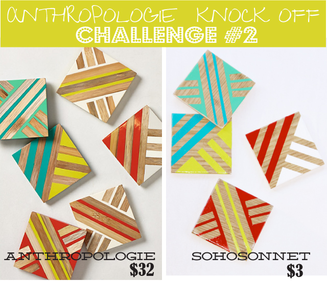 Anthropologie Challenge Week {Day #2} – Geometric Wood Coasters