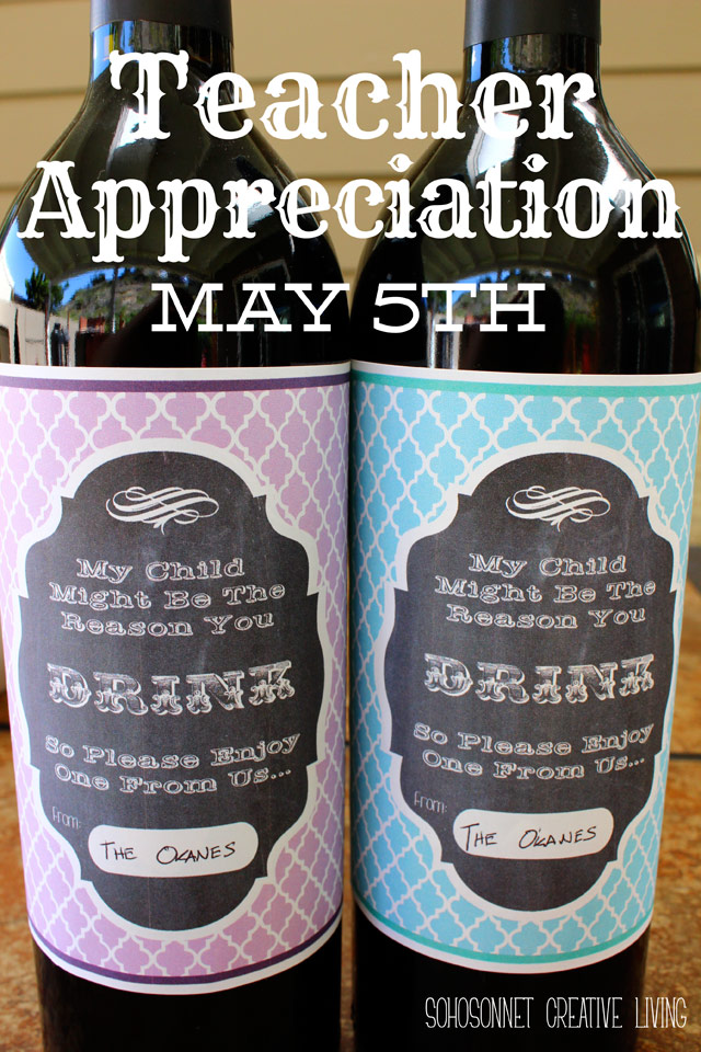 Teacher Appreciation Gift U2013 Wine Label Free Printable  Free Wine Bottle Label Templates