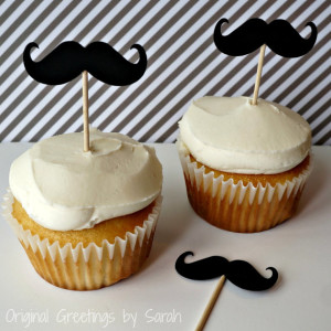 mustach cupcake toppers