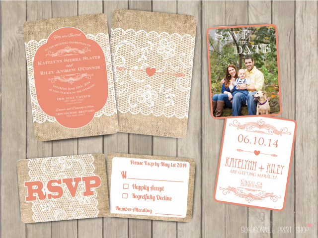 Rustic Burlap Romantic Lace Wedding