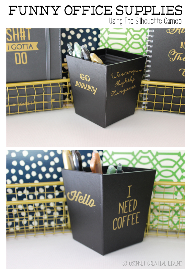 Creative Officewear Made Totally By Office Supply: Funny Office Supplies {Silhouette Cameo Project + Free