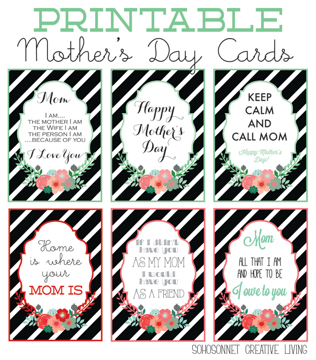 image about Free Printable Funny Mothers Day Cards called Totally free Moms Working day Printables Playing cards + Prints - SohoSonnet