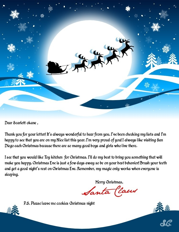 Hear from Santa Claus Receive a letter phone call email and