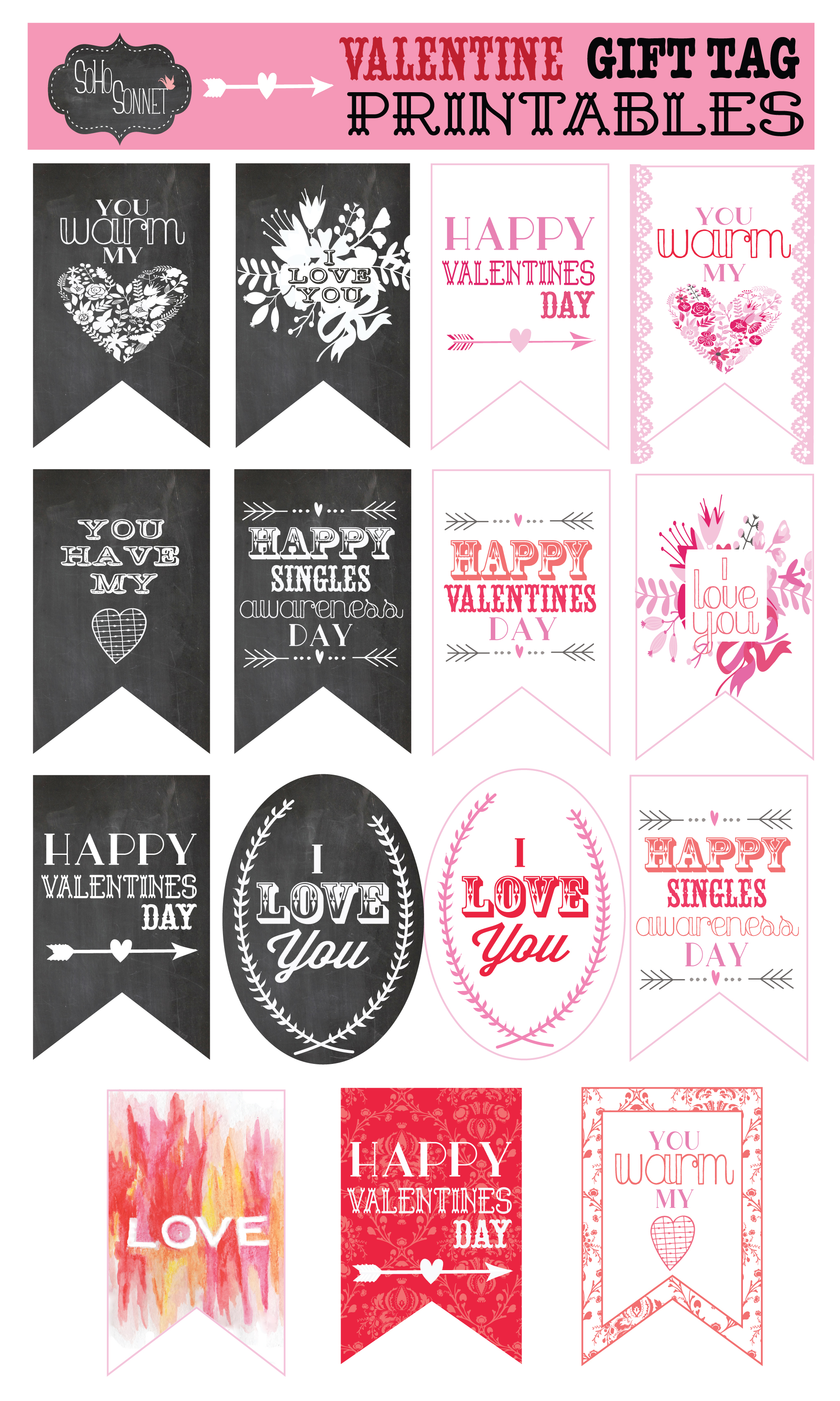 photo relating to Happy Valentines Day Banner Printable named Totally free Printable Tags for Birthday and Vacations!