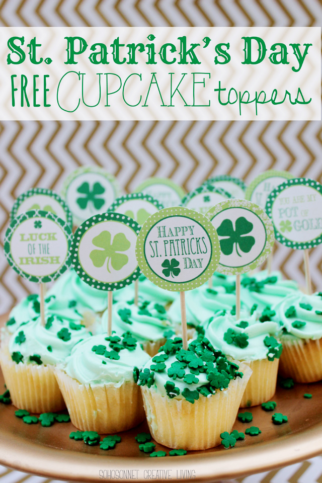 St. Patrick's Day cupcake topper on cupcakes