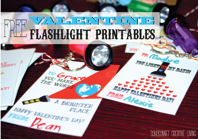Free printable flashlight Valentines