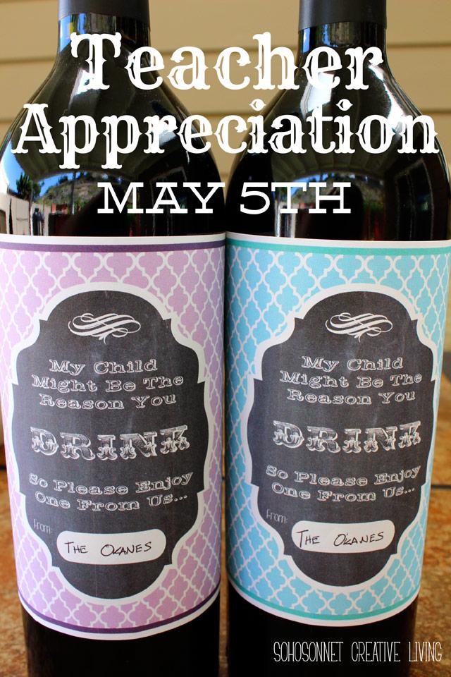 Teacher Appreciation Gift Wine Label Free Printable